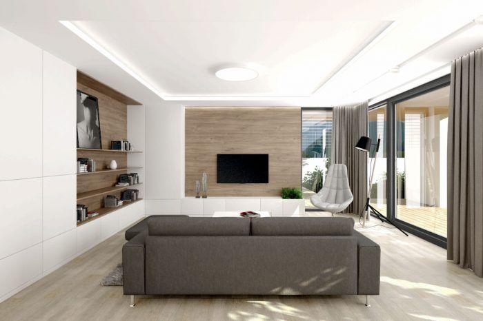 Príjemná drevo-biela kombinácia v obývacom priestore