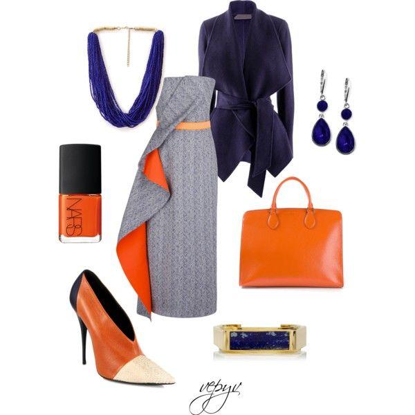 """Business orange"" by viktoria-vepy on Polyvore"