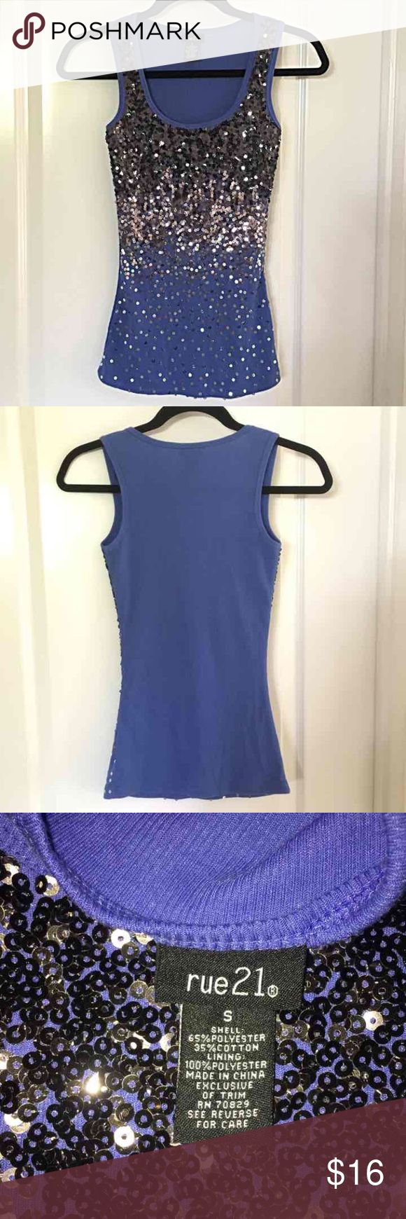 NWOT Rue 21 sequin tank top blue black silver NWOT Rue 21 sequin tank top. Sequins at top are black and fade into silver at bottom. Blue is more of a blue gray. Size Small. Make an offer! Rue 21 Tops Tank Tops