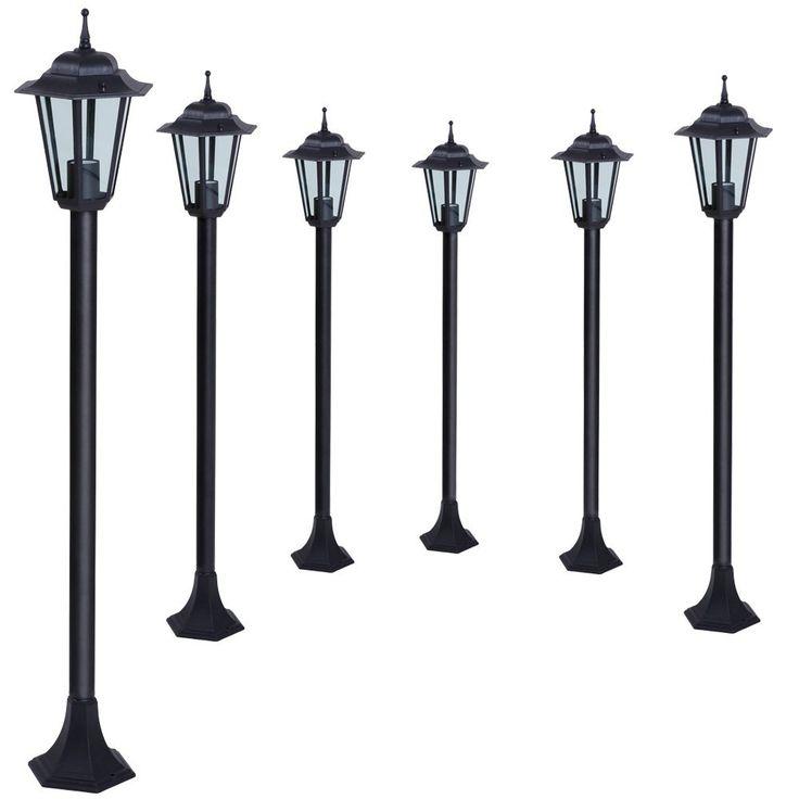 Jago GARL07Schwarz Lampioni lanterne da giardino Set da 6 in nero ...
