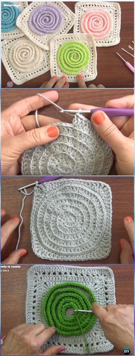 Crochet Woven Swirl Rosette Granny Square Free Pattern