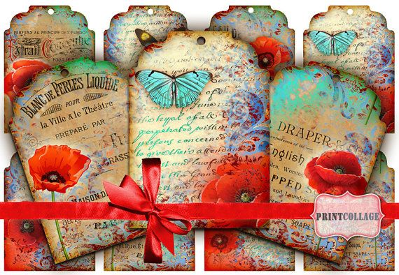 Poppy flower tag images Digital Collage Sheet by PrintCollage