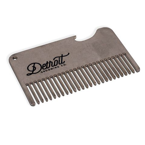 Comb your beard and crack open a beer in one swipe. This stainless steel comb can fit right in your wallet! Ideal for any occasion, also a great gift item. Made by Detroit Grooming Co.