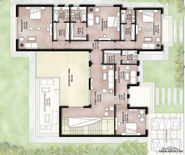 مخطط الفيلا رقم التصميم F4 من مبادرة بيتى690 متر مربع 5 غرف نوم Fantasy House House Architecture