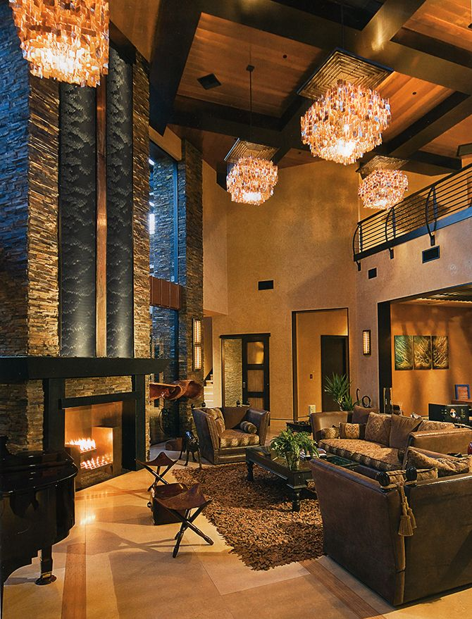 ... Grandeur Luxury Homes Interior Designs : Luxury Homes Interior Designs  With Cofferred Wooden Ceiling And Chandeliers And Fireplace With Wall  Cladding