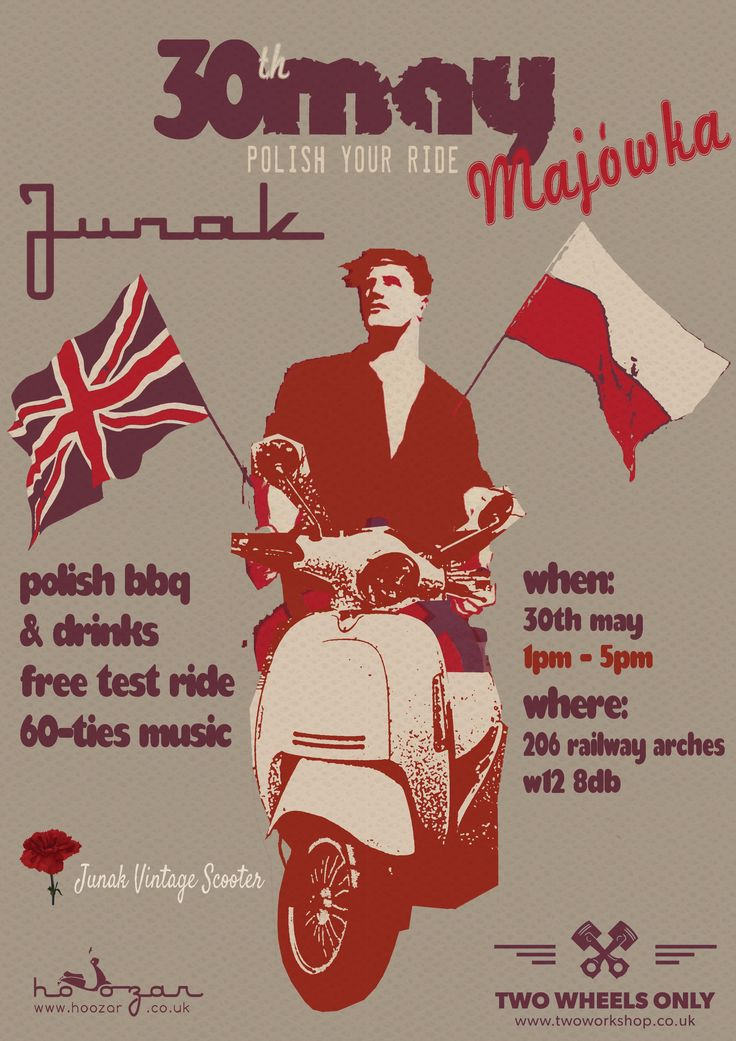 Junak is a legendary polish motorcycle produced between 1956-1965. The heaviest Polish post-war motorcycle, commonly recognized due to its characteristic exhaust and loud valve train. Half a century later,  Junak is introducing a new range of vintage scooters.   Fancy to find out more about Junak Vintage Scooter? Join our Polish BBQ on 30th May. Have a free test ride, try polish sausage and get a taste what was it like to live in Poland in 60-ties…