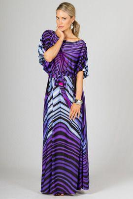 Chloe Maxi Dress - Purple Graphic