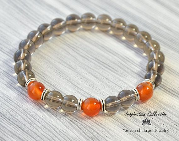 8 mm Unisex Beads bracelet Gift for her Gift for him Gemstone Jewelry Quartz Bracelet Brown Beaded bracelet Materials: Gemstone Smoky quartz beads 8mm, Gemstone Carnelian beads 8mm, Spacer Beads, strong stretch cord, branded gift small pouch. → The jewelry I make with inspiration