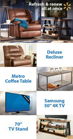 "Redefine your living room & put the fun back in refund with the latest electronics and furnishings at Walmart  Kick back in a deluxe recliner and enjoy shows & movies on a Samsung 50"" 4K TV. Center your room around a stylish coffee table and show off your new electronics with a 70"" TV stand.  Get low prices on home items and everything else on your wish list at Walmart."