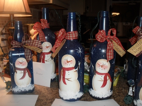Painted wine bottles cubcare
