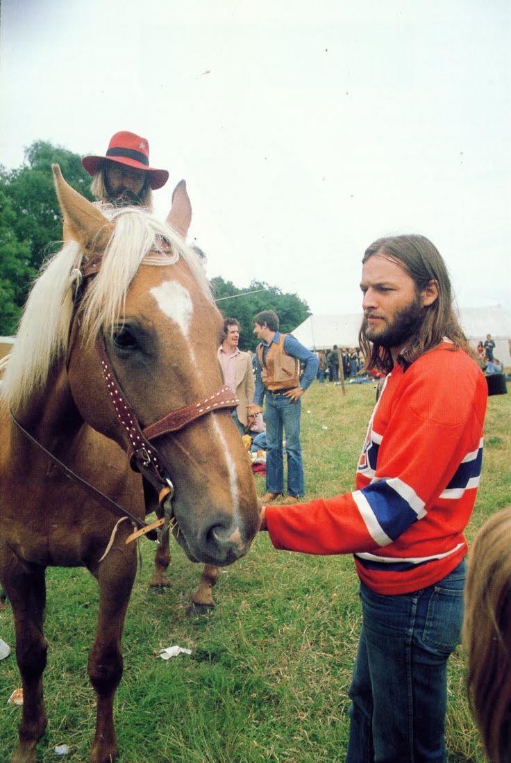 David Gilmour and a horse at Knebworth 1975.