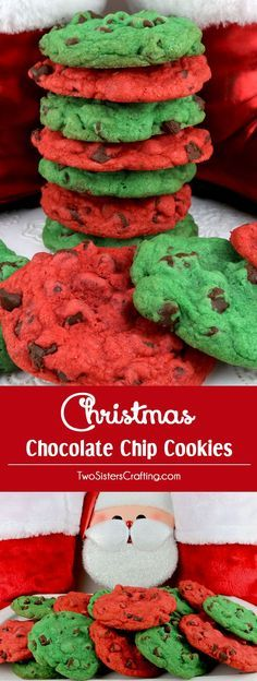 Christmas Chocolate Chip Cookies - a classic cookie in Christmas Red and Green. What a yummy way to add some holiday fun to the Holiday dessert table! This fun and delicious Christmas Cookie Recipe would be a great Christmas dessert idea for a Christmas Party, a holiday gift basket or a Christmas Cookie exchange. Pin this easy Holiday cookie recipe for later and follow us for more great Christmas Food ideas. #ChristmasCookies #ChristmasDesserts #ChristmasTreats