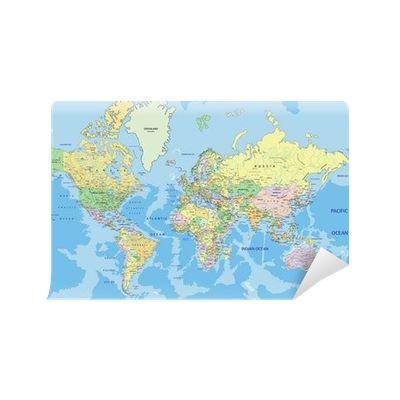 Fototapeta Bardzo szczegółowe polityczna mapa świata z etykietą. 365 dni na zwrot ✓ Miliony wzorów ✓ 100% Eco-Friendly ✓ Profesjonalna obsługa i doradztwo ✓ Skonfiguruj online!