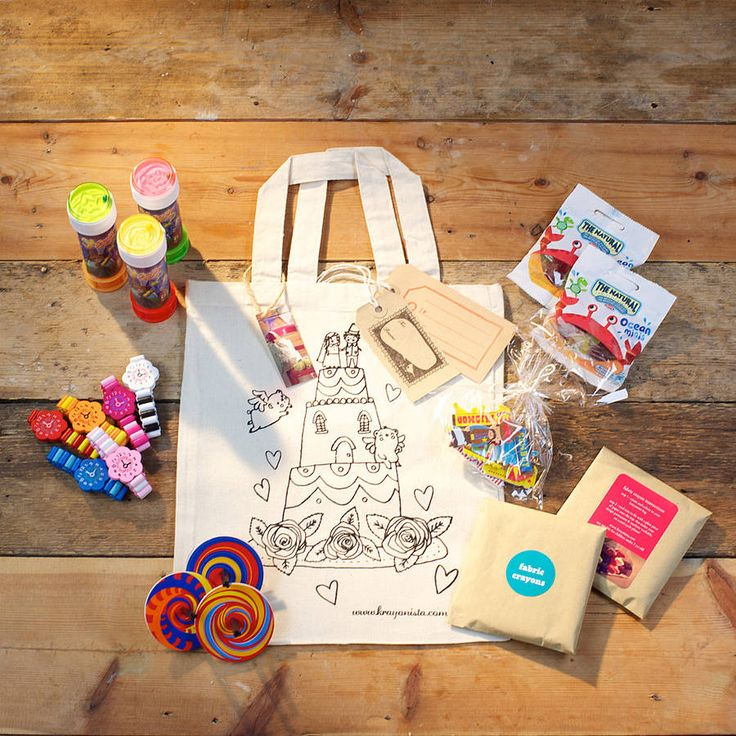 colour in wedding party bag with gifts by krayonista | notonthehighstreet.com