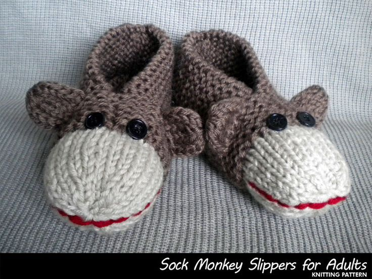 Sock Monkey Slippers for Adults Knitting by AuntJanetsDesigns