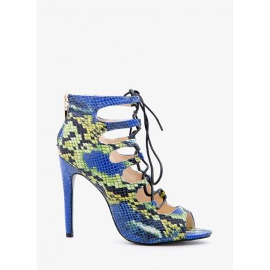 Sandały Impress The Lady Blue Snake Heeled Sandals
