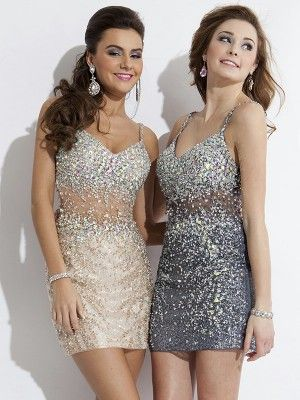 Sheath/Column Spaghetti Straps Sleeveless Sequin Short/Mini Dresses - Tight Home... 7