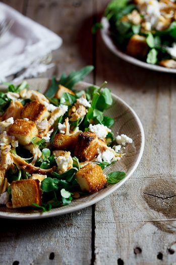 Left-over roast chicken salad with sourdough croutons. #Recipe #Salad #Leftovers