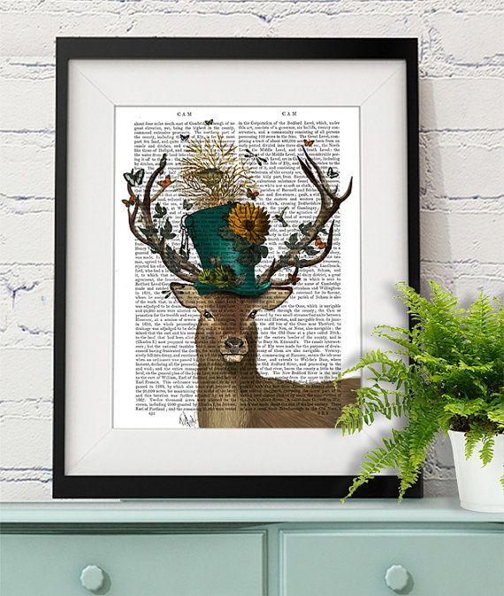 Alice in Wonderland Decoration The Mad Hatter Deer by FabFunky