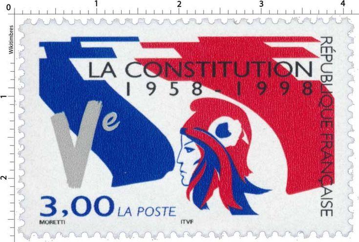 Timbre : LA CONSTITUTION 1958-1998   WikiTimbres