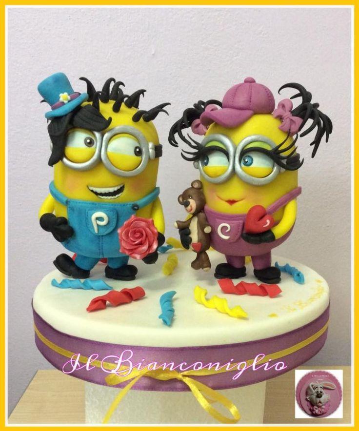 Minions in Love by Carla Poggianti Il Bianconiglio - http://cakesdecor.com/cakes/229090-minions-in-love