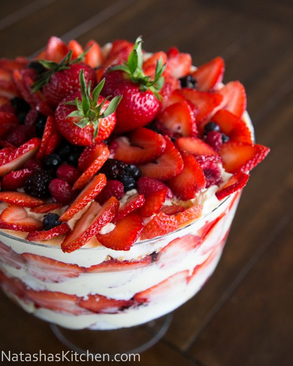 Berry Trifle Recipe - I think I'd use homemade buscuits (slightly overcooked so they wouldn't get too soggy with the moisture in the rest of the ingredients) instead of Angel Food cake, but this otherwise looks delicious! You could also do with peaches if your stomach is sensitive to the seeds in berries.