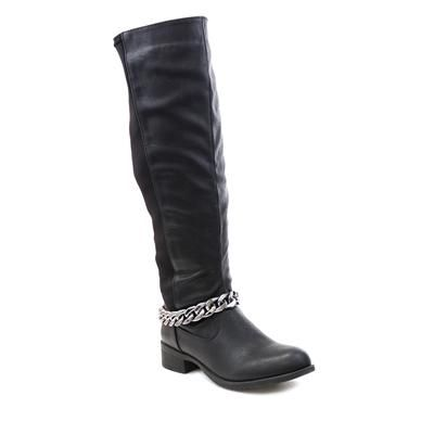 18207 If it's comething a bit different and quirky you are after this season why not try our Black Riding Boots with Silver Chain Detail, the perfect comfy boots for work. £24.99 #womensboots #ridingoots #autumn