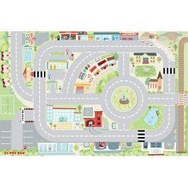 Le Toy Van speelkleed mijn eerste stad. Met wegen, een rotonde en verschillende gebouwen.