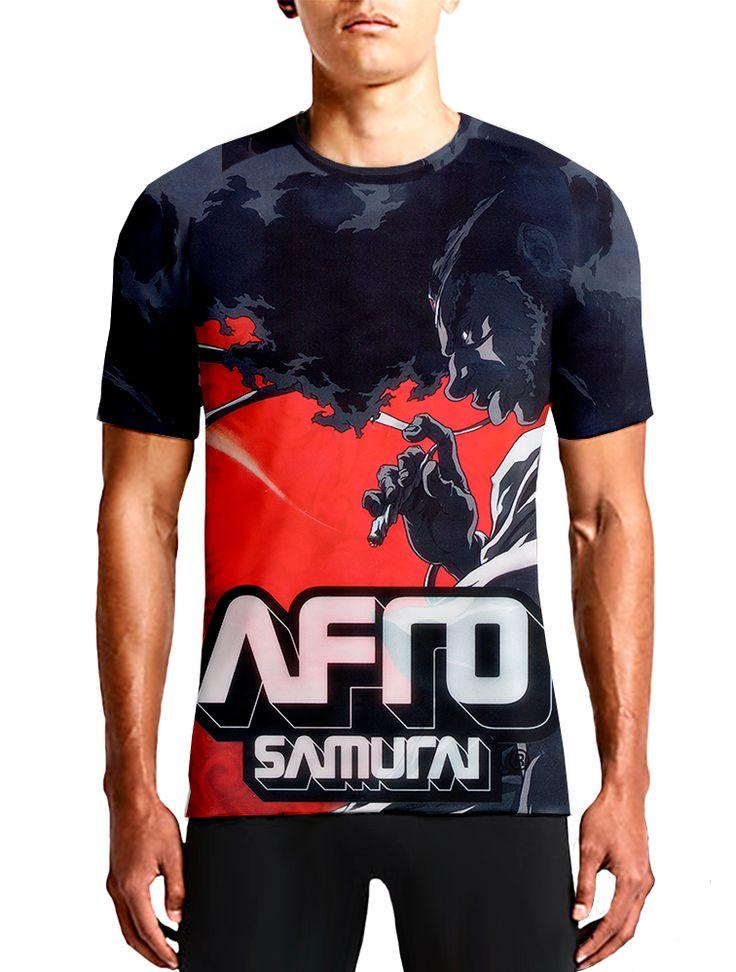 Afro Samurai Guys T-Shirt / Anime OSOMWear Men's Red Black White All Over Printed Tees