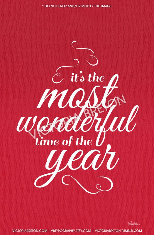 Christmas Decorations And Quotes : Most wonderful time of the year typography print