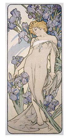 Mucha Nouveau Iris Flower Poster Lámina giclée por Alphonse Mucha en AllPosters.es
