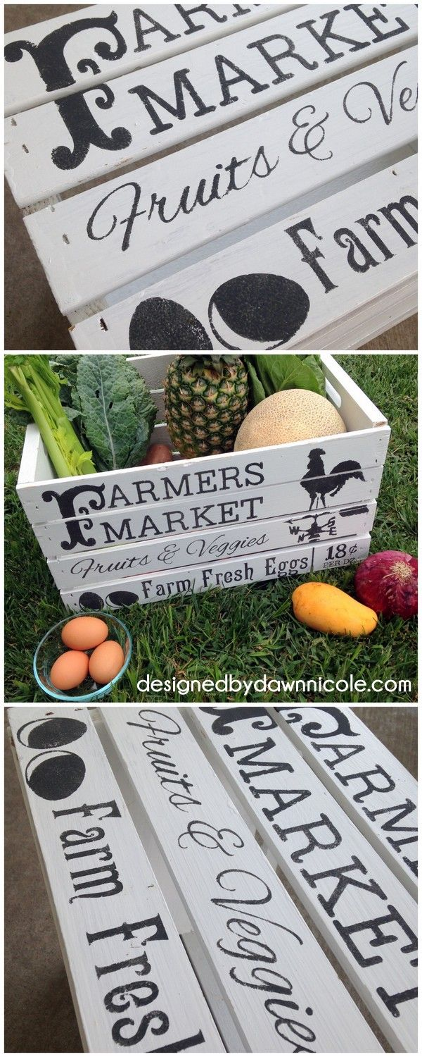 DIY Vintage-Style Farmer's Market Crate and How to Stencil on the Cheap with Scrapbook Paper an Spray Adhesive