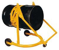 """The Manual Drum Carrier/Rotator is an efficient, economical way to handle 55 gallon steel drums. Sturdy handle provides leverage for heavy lifting and easily locks drum in position 5"""" to 11"""" off floor. Drum rotates 360°. Rolls smoothly on 8"""" front wheels and a 4"""" rear swivel caster. Not for use with drums on pallets. Specs: 800 lbs. capacity."""