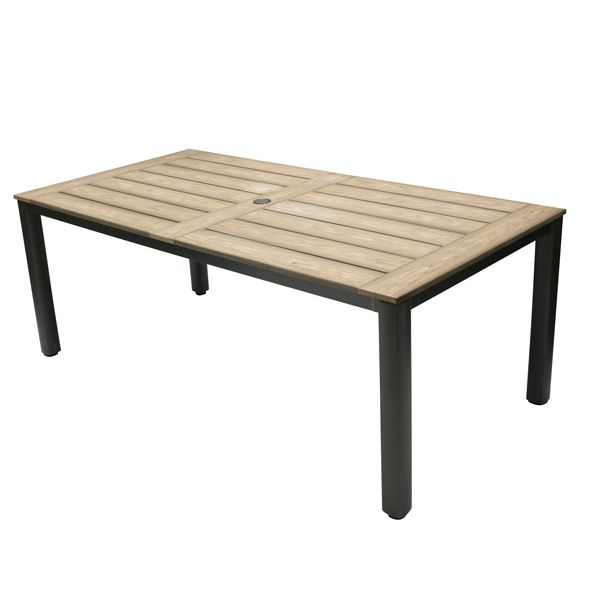 """<p><span id=""""result_box"""" lang=""""en""""><span>The Tahiti table is made of an aluminum structure with polyteak slat top.</span> <span>There is a 5 cm hole to install an umbrella.</span></span></p>"""