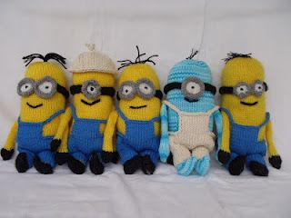 "Free 9"" Minions knitting pattern! I'm going to make dozens."