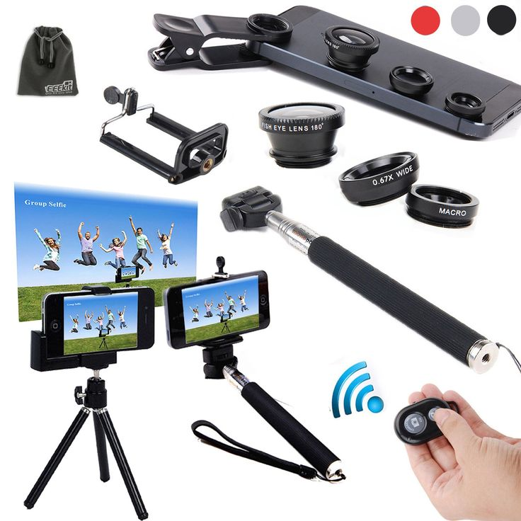 EEEKit 6in1 Kit for iPhone 6/iPhone 6 Plus iPhone 5S/5C/5/4S Samsung Galaxy S5/S4/S3 Samsung Galaxy Note 4/3/2 LG G3/G2 HTC One M8/M7 Google Nexus 4/5 Sony Xperia Z1/Z2 Motorala Moto X/G Cell Phone,Extendable Handheld Monopod for Compact Camera + Adjustable Smartphone Adapter Phone Holder + Retractable Rotating Tripod Stand Mount Holder+ WirelessBluetooth Remote Camera Shutter Release Control + Fish Eye Lens + Wide Angle Lens + Macro Lens + EEEKit Pouch (Black):Amazon:Cell Phones…