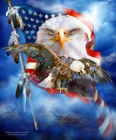 See with new insight A vision of freedom For all.  Vision Of Freedom prose by Carol Cavalaris  This artwork of a bald eagle, with American flag eyes, and another eagle flying, inside an American flag, is from the Patriotic Collection of art by Carol Cavalaris.
