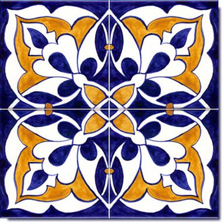 Spanish Moorish Design on Hand Painted Tiles