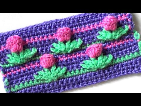"Узор "" ТЮЛЬПАНЫ "" Вязание крючком  Pattern ""TULIPS"" Crocheting - YouTube"