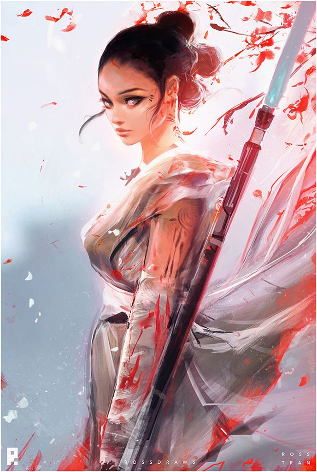 "rossdraws: ""Wanted to create a piece and episode for Star Wars day! Here's my take on Rey with the help of Milo. Hope you enjoy it! :"
