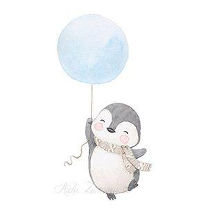 Ilustración pinguino en globo