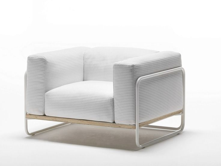 Fabric Garden Armchair With Removable Cover With Armrests