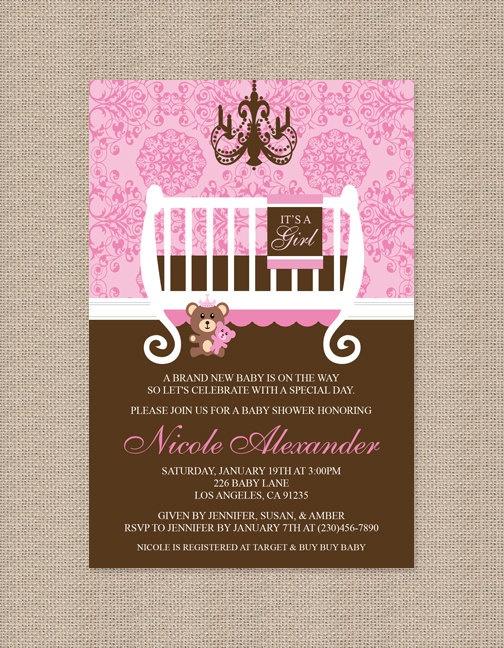 Girl Chandelier Crib Baby Shower Invitation by Honeyprint on Etsy, $15.00