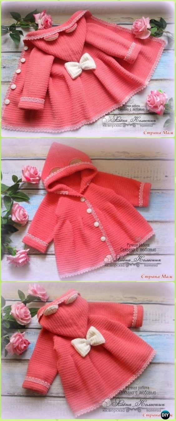 f25b72ac8 Crochet Baby Ruffled Cardigan Coat Free Pattern Video - Crochet Kid's  Sweater Coat Free Patterns