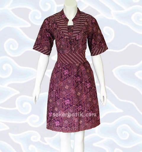 dress batik ungu cantik bd28 di http://sekarbatik.com/dress-batik/