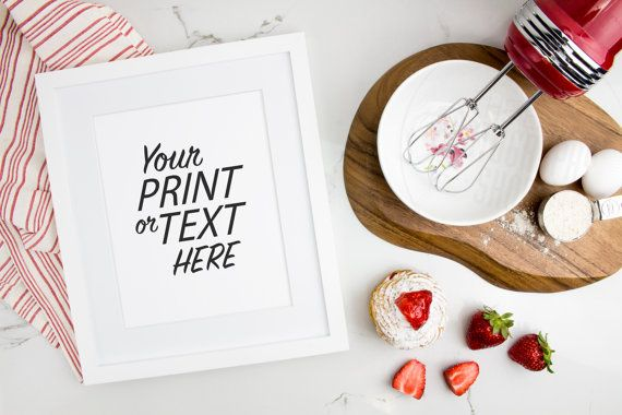 Print Background / Blank Frame / Styled Stock Photography / Product Photography / Staged Photography / Red / Fruit / Baking / Kitchen / K001