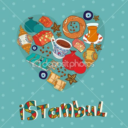 Стамбул открытка Дизайн — Стоковая иллюстрация #42909623