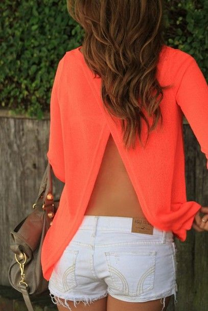 Split back shirt, open back coral shirt - Yes yes yes!!