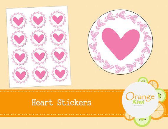 Heart Stickers  Wedding Stickers  Favor by OrangeKiwiDesign