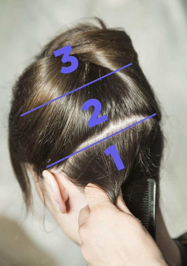 Secciona tu cabello así para un planchado extra rápido. | 13 Trucos inteligentes para las chicas que se planchan el cabello
